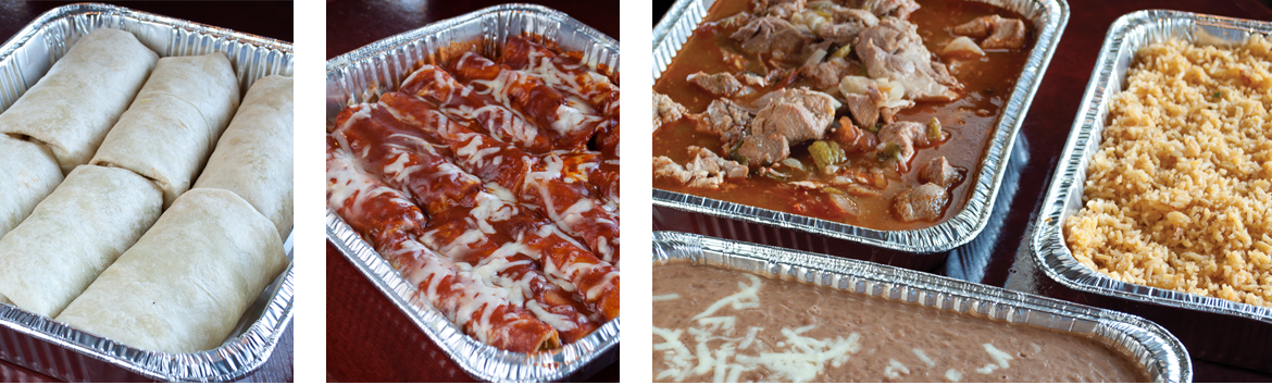 Catering dishes from La Pinata Restaurant